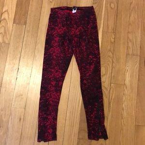 Betsey Johnson Red & Black Leggings Size S